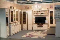 MOSKWA, ROSJA - 24 09 2015 Wnętrze sklepowy Hoff - jeden wielka Rosyjska meblarska sieć Obraz Royalty Free