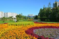 Moskwa Rosja, Wrzesień, - 01 2016 Duży kwiatu łóżko w Zelenograd w Moskwa, Rosja Fotografia Royalty Free