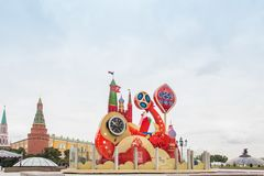 MOSKWA ROSJA, WRZESIEŃ, - 28, 2017: Ogląda odliczanie przed rozpoczęciem FIFA pucharu świata 2018 przy Manezh kwadratem Obraz Royalty Free