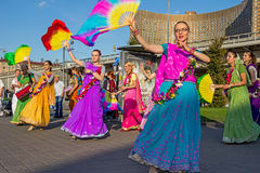 Moskwa Rosja, Wrzesień, - 02, 2016: Uliczny harinam sankirtana Zdjęcia Royalty Free