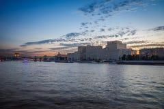 Moskwa rzeka w wieczór Fotografia Stock