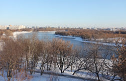 Moskwa rzeka w zimie Kolomenskoye, Moskwa Obraz Royalty Free