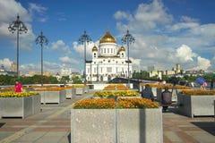 MOSKWA, SIERPIEŃ - 4: Moskwa, Rosja Chrystus wybawiciela Katedralny widok w Sierpień 4, 2016 obrazy royalty free