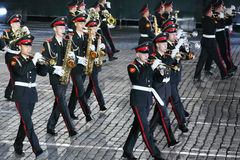 Orkiestra Moskwa Suvorov Militarna Muzyczna szkoła wyższa przy Militarnym festiwalem muzyki Fotografia Stock