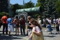 Moskwa Tsar Kremlowscy 1586 działa Andrey Chokhov Lipiec Mistrzowski upał Obrazy Stock