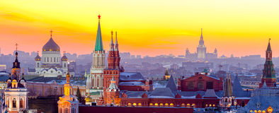 Moskwa, widok Moskwa Kremlin, Rosja Obrazy Royalty Free