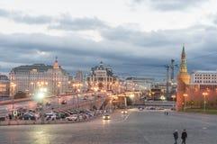 Moskwa wieczór ulicy scena Zdjęcia Stock