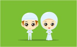 Moslem Boy and Girl on white dress