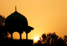 Moslem fortress silhouette at sunrise. Taj Maha. L, Agra, India Stock Photography