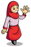 Moslem's girl. Cartoon figure of a Moslem's girl greeting friendly Stock Photography