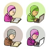 Moslem Studying vector illustration