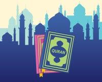 Moslemische Bücher des Quranislams mit flachem Artvektor Stockbild