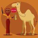 Moslemische Familienkarikatur in den Wüstendünen Flache Illustration des Vektors Lizenzfreies Stockfoto