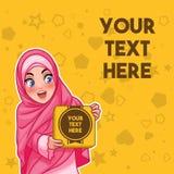 Moslemische Frau, die einen Kasten mit Textraumvektorillustration hält lizenzfreie abbildung