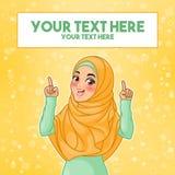 Moslemische Frau, die oben Finger auf Kopienraum zeigt
