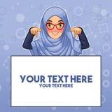 Moslemische Frau, die unten Finger auf Kopienraum zeigt stock abbildung