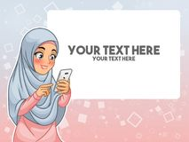 Moslemische Frauenhand, die ein intelligentes Telefon durch das Zeigen mit ihrem Finger berührt lizenzfreie abbildung