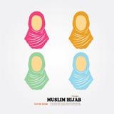 Moslemische Frauenikone mit hijab Asiatisches moslemisches traditionelles hijab I Stock Abbildung