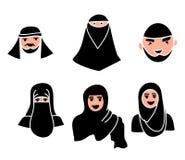Moslemische Hauptmänner und Frauen moslemisch mit schwarzem Hijab Stockfotos