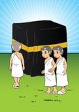 Moslemische Kinder, die manasik Hadsch lernen Stockfotografie