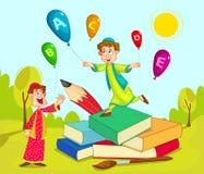 Moslemische Kinder, die mit Buch und Bleistift spielen Lizenzfreie Stockfotos