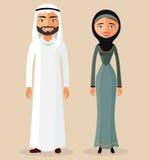 Moslemische Paare Arabische Mann- und Araberfrau Traditionelle arabische Kleidung Flaches Design karikatur zeichen Auch im corel  Lizenzfreie Stockfotos