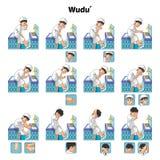 Moslemische Waschung oder Reinigungs-Ritualführer Schritt für Schritt unter Verwendung des Wassers führen durch Jungen durch lizenzfreie abbildung