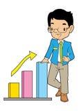 Moslemischer Büromann mit großem Diagramm Stockbild