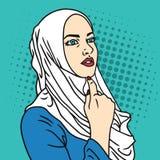 Moslemischer Frauen-Knall Art Comics Style Vector Illustration Hijab vektor abbildung