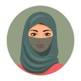 Moslemischer Mädchenavatara Arabische Schönheit im grünen hijab Vektor Stockbild