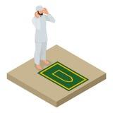 Moslemischer Mann betet isometrische Illustration des flachen Vektors auf weißem Hintergrund Stockfoto
