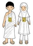 Moslemischer Pilgerjunge und -mädchen auf weißem Hintergrund Stockbild