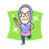 Moslemisches Mädchen, das Friedenszeichen zeigt stockfotos