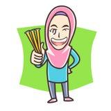 Moslemisches Mädchen, das Honigstock hält lizenzfreies stockbild