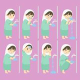 Moslemisches Mädchen führen Waschungs-Schritt-Vektor-Sammlung durch lizenzfreie abbildung