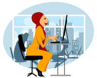 Moslemisches Mädchen im Büro Stockbilder