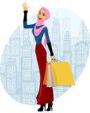 Moslemisches Mädcheneinkaufen Lizenzfreie Stockfotografie