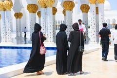 Moslems an der Moschee - Abu Dhabi - Shaiekh Zayed Stockbild