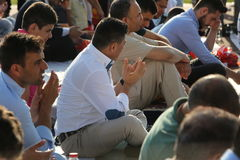 Moslems, die Eid al-Fitr feiern Lizenzfreie Stockfotografie