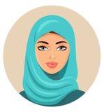 Moslim Arabische vrouw in gekleurd hijab Arabisch Portret Zieke vector royalty-vrije illustratie