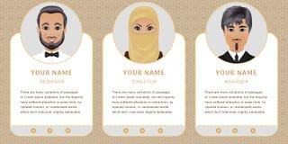 Moslim bedrijfsset van tekens Banners voor uw Webontwerp in B Royalty-vrije Stock Foto's
