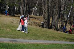 Moslim Communautaire Picknick in Park (2) stock foto