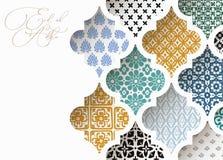 Moslim de groetkaart van vakantieeid al adha Close-up van kleurrijke sier Arabische tegels, patronen door witte moskee royalty-vrije illustratie