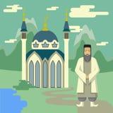 Moslim en moskee vector illustratie