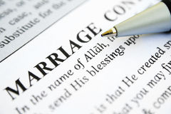 Moslim huwelijkscontract Royalty-vrije Stock Afbeeldingen
