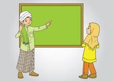 Moslim mannelijke leraar en vrouwelijke student Stock Fotografie