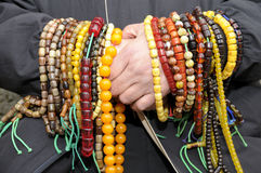 Moslim met gebedparels Stock Foto