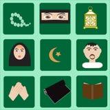 Moslim vastgestelde pictogrammen Royalty-vrije Stock Foto