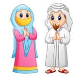 Moslim volwassen beeldverhaalgroet royalty-vrije illustratie