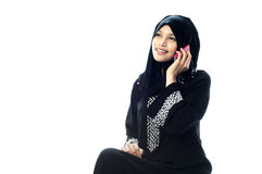 Moslim vrouwen op telefoon Stock Afbeelding